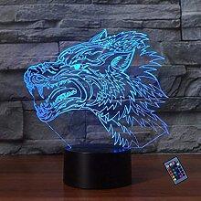 Optische Täuschung 3D Wolf Nacht Licht 16 Farben