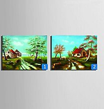OPZLL Küste Ferienhaus handgemalte Ölgemälde, dekorative Bilderrahmen , 2