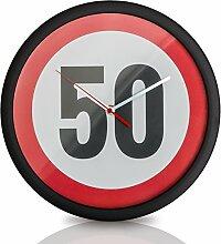 Oramics runde Wanduhr zum 50. Geburtstag – Scherzartikel – Lustige Geschenkidee zum Geburtstag – Uhr für Deko – Quarz Uhr mit ø 30 cm
