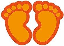 (Orange) 10 Stück Fußbodenaufkleber Kinderfüße