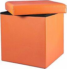 orange 38x38x38 Faltbarer Sitzhocker Sitzwürfel Aufbewahrungsbox gepolsterter Hocker Puff Sitzmöbel modern schick