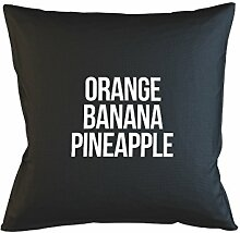 Orange Banana Pineapple Komisch Fruit Text Random Kissenbezug Haus Sofa Bett Dekor Schwarz