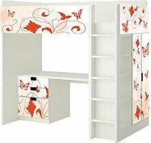 Orange Butterfly Aufkleber - SH11 - passend für die Kinderzimmer Hochbett-Kombination STUVA von IKEA - Bestehend aus Hochbett, Kommode (3 Fächer), Kleiderschrank und Schreibtisch