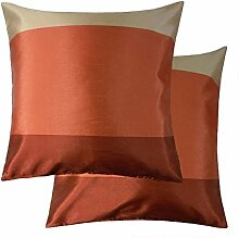 Orange Creme Beige Gestreift Kunstseide Gefüllt Kissen passend zu Vorhänge 43,2cm