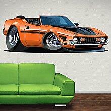 Orange Dodge Wandaufkleber Klassisch Auto Wandtattoo Jungen Garage Wohnkultur Erhältlich in 8 Größen Groß Digital