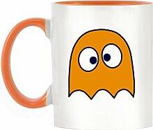 Orange Drunken Ghost Design bicolor Becher mit Henkel Orange & Innen