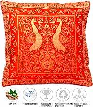 Orange Farbe Seide Kissenbezug mit Pfau design |