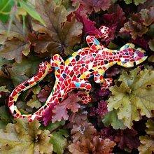 Orange- Gelbe Mosaik Eidechse Garten Deko aus Kunstharz