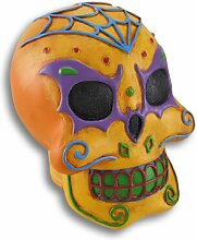 Orange Halloween Zucker Totenkopf Statue