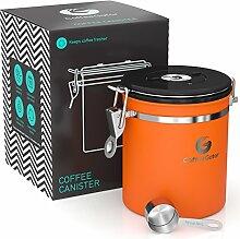 ORANGE KAFFEEDOSE - KAFFEEBEHÄLTER aus Edelstahl mit Deckel und Aromaverschluss - Vorratsdose um Kaffeebohnen oder Kaffeepulver perfekt aufzubewahren – Aromadose mit gratis Dosierlöffel
