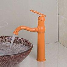 Orange Malerei Bad Waschbecken Mischbatterie Chrom