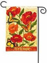 Orange Poppies Garden Flag