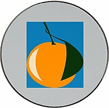 Orange with a leaf in dark green. metal round fridge magne