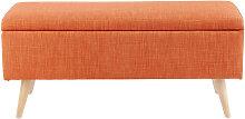 Orangefarbene Vintage-Truhenbank und