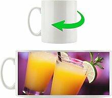 Orangensaft, Motivtasse aus weißem Keramik 300ml, Tolle Geschenkidee zu jedem Anlass. Ihr neuer Lieblingsbecher für Kaffe, Tee und Heißgetränke.
