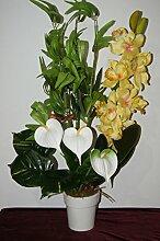Orchidee Bambus Büro Deko Kunstblume Tischdeko