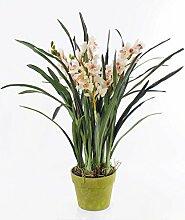Orchidee Cymbidium im Topf, weiß-rosa, 130 cm - Künstliche Pflanze