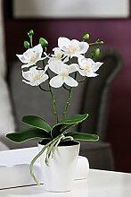 Orchidee im Topf Kunststoff m. 6 Blüten weiß Topf weiß Höhe 28 cm, Pflanze, Blume, Tischdeko, Kunstblume