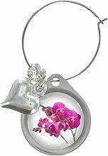 Orchideen Blume Bild Design WEINGLAS ANHÄNGER MIT FANCY PERLEN