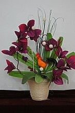 Orchideen im Topf Kunstblume Tischdeko Hahn Silvester Dekoration Dekor Blume K05 (K 05 Bordeaux)
