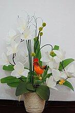 Orchideen im Topf Kunstblume Tischdeko Hahn Silvester Dekoration Dekor Blume K05 (K05 Weiß)