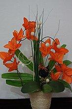 Orchideen im Topf Kunstblume Tischdeko Hahn Silvester Dekoration Dekor Blume K05 (K05 Orange)