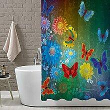 Orchideen, Schmetterlinge Duschvorhang mit Haken Anti-Bakterielle Wasserdicht Polyester Duschvorhang–167,6x 182,9cm, Polyester, 5, 36inx72in