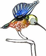 Orchideen-Stützen, individuell gefertigt, aus Glas, mit Vogel als Zierelement, Blickfang, glas, multi