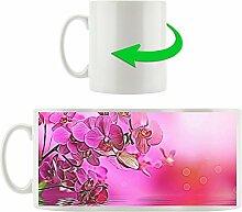 Orchideenblüte über Wasser in pink, Motivtasse aus weißem Keramik 300ml, Tolle Geschenkidee zu jedem Anlass. Ihr neuer Lieblingsbecher für Kaffe, Tee und Heißgetränke.