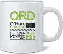 ORD Ohare Chicago Airport Code Travel Ceramic