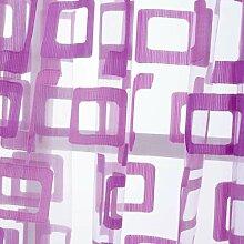 Organza Gardinen Sheer Ösen Vorhang Panels Tüll kurz Vorhang quadratisch modernes schlichtes Design Vorhänge für Wohnzimmer, violett, W200cm L270cm