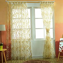 Organza Gardinen Sheer Ösen Vorhang Panels Tüll kurz Vorhang quadratisch modernes schlichtes Design Vorhänge für Wohnzimmer, gelb, W250cm L270cm