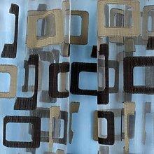 Organza Gardinen Sheer Ösen Vorhang Panels Tüll kurz Vorhang quadratisch modernes schlichtes Design Vorhänge für Wohnzimmer, braun, W100cm L270cm
