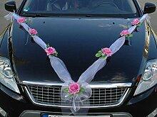 ORGANZA M Auto Schmuck Braut Paar Rose Deko Dekoration Autoschmuck Hochzeit Car Auto Wedding Deko (Rosa / Weiß)