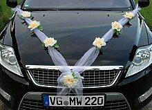 ORGANZA M Auto Schmuck Braut Paar Rose Deko Dekoration Autoschmuck Hochzeit Car Auto Wedding Deko (Lemon / Weiß)