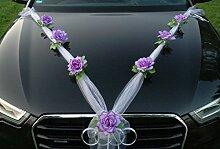 ORGANZA M Auto Schmuck Braut Paar Rose Deko Dekoration Autoschmuck Hochzeit Car Auto Wedding Deko (Lila / Weiß)
