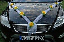 ORGANZA M Auto Schmuck Braut Paar Rose Deko Dekoration Autoschmuck Hochzeit Car Auto Wedding Deko (Gelb / Weiß)