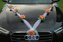 ORGANZA M Auto Schmuck Braut Paar Rose Deko Dekoration Autoschmuck Hochzeit Car Auto Wedding Deko (Orange / Weiß)