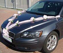 ORGANZA M Auto Schmuck Braut Paar Rose Deko Dekoration Autoschmuck Hochzeit Car Auto Wedding Deko (Rosa / Rosa)