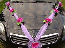 ORGANZA M Auto Schmuck Braut Paar Rose Deko Dekoration Autoschmuck Hochzeit Car Auto Wedding Deko (Violett / Violett)