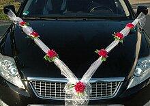 ORGANZA M Auto Schmuck Braut Paar Rose Deko Dekoration Autoschmuck Hochzeit Car Auto Wedding Deko (Pink / Weiß)