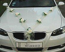 ORGANZA M Auto Schmuck Braut Paar Rose Deko Dekoration Autoschmuck Hochzeit Car Auto Wedding Deko Girlande PKW (Ecru / Ecru)