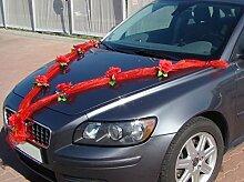 ORGANZA M Auto Schmuck Braut Paar Rose Deko Dekoration Autoschmuck Hochzeit Car Auto Wedding Deko (Rot / Rot)