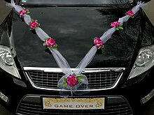 ORGANZA M Auto Schmuck Braut Paar Rose Deko Dekoration Autoschmuck Hochzeit Car Auto Wedding Deko (Violett / Weiß)
