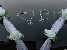 ORGANZA M + HERZEN Auto Schmuck Braut Paar Rose Deko Dekoration Autoschmuck Hochzeit Car Auto Wedding Deko Ratan (Weiß / Weiß / Weiß)