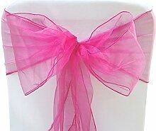 Organza Sessel Fuller Bow Schärpen für Hochzeit Geburtstagsparty Bankett Empfang Dekoration 17cm x 280cm Trimming Shop - Hot Pink / Fuchsia, Pack of 50