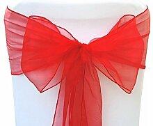 Organza Sessel Fuller Bow Schärpen für Hochzeit Geburtstagsparty Bankett Empfang Dekoration 17cm x 280cm Trimming Shop - Rot, Pack of 50