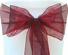 Organza Sessel Fuller Bow Schärpen für Hochzeit Geburtstagsparty Bankett Empfang Dekoration 17cm x 280cm Trimming Shop - Weinrot, Pack of 50