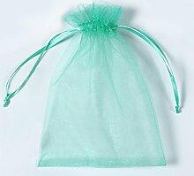 Organza Taschen Net Garn YFZYT Schmuckbeutel mit Vielfältig Farben ideal für Geschenk Hochzeit Süßigkeiten Säckchen Geeignet für Männer und Frauen,100 Stück,13 X 18 CM,Aqua grün