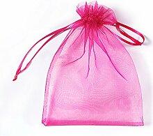 Organza Taschen Net Garn YFZYT Schmuckbeutel mit Vielfältig Farben ideal für Geschenk Hochzeit Süßigkeiten Säckchen Geeignet für Männer und Frauen, 100 Stück, 20 X 30 CM, Rosenro